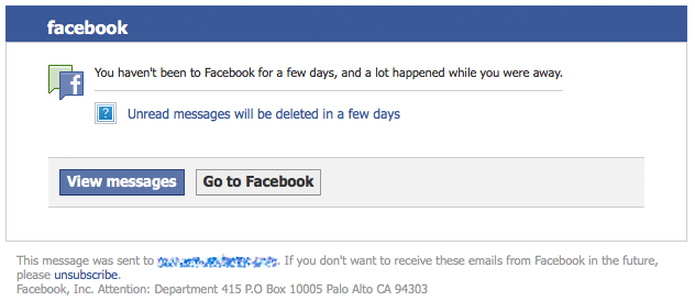 facebook phishing spam