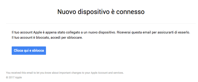 nuovo dispositivo connesso phishing apple