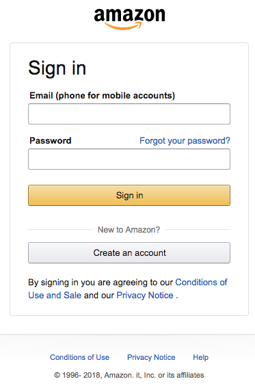 amazon phishing login falso