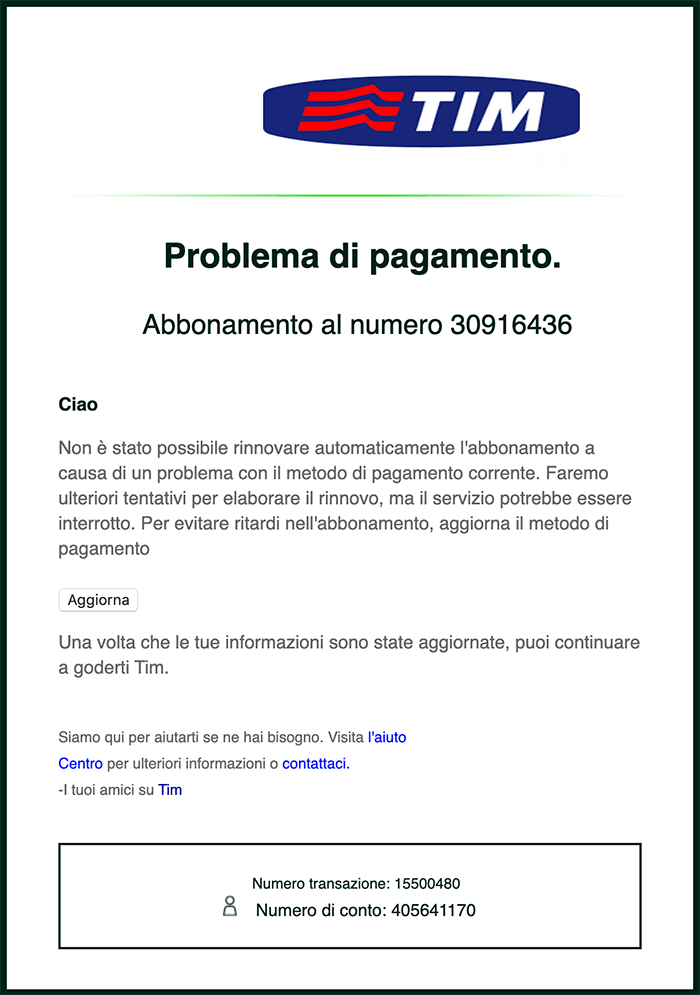 email di phishing tim