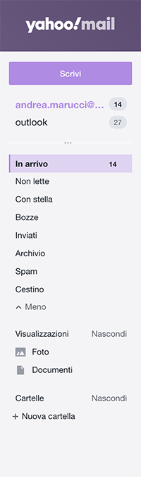 come si vedono in yahoo le varie caselle