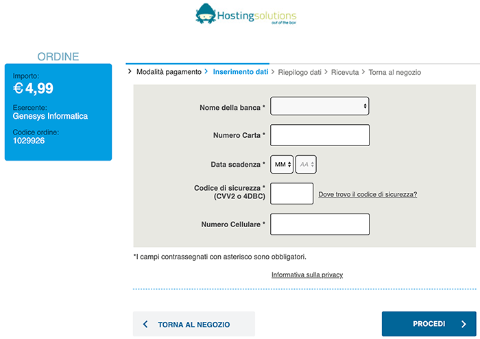 phishing hostingsolutions richiesta dati carta di credito