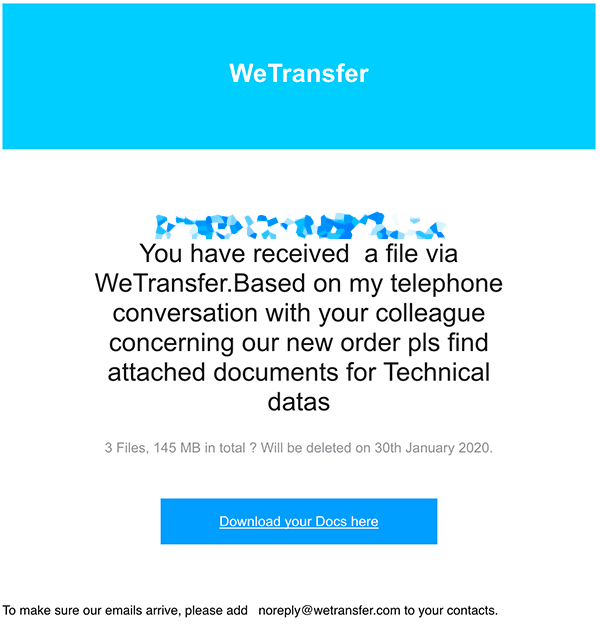 email di wetransfer falsa