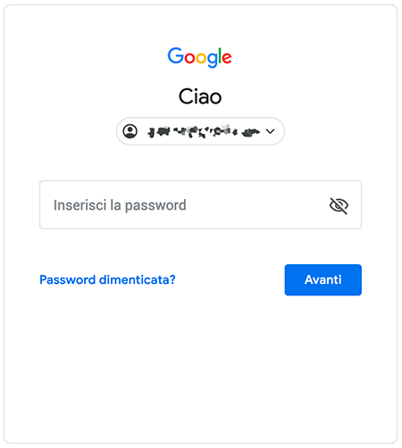 password dimenticata gmail