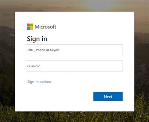 falso login microsoft outlook