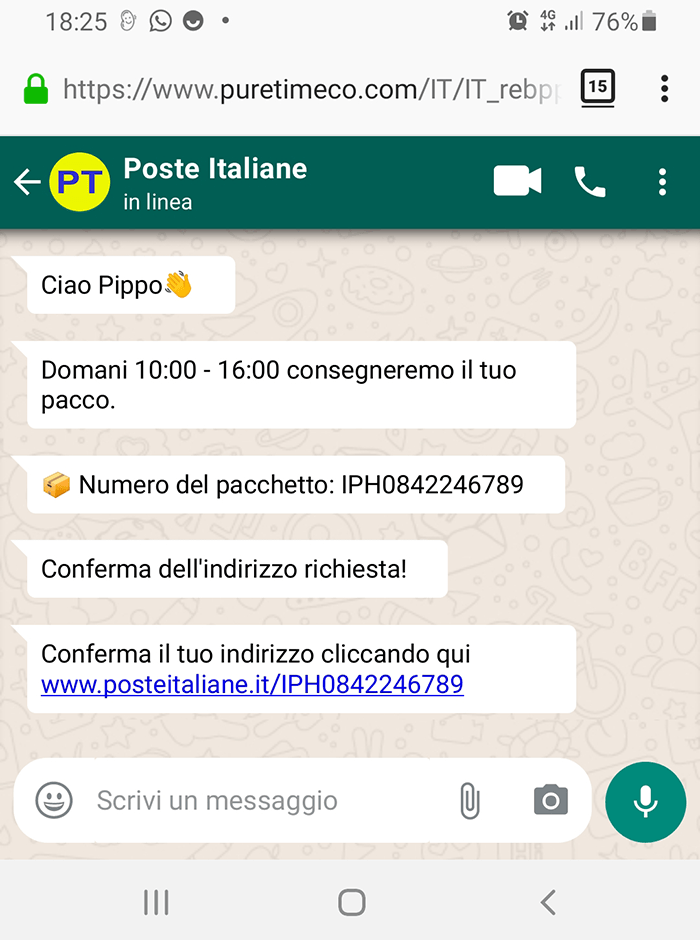 smishing consegna pacco