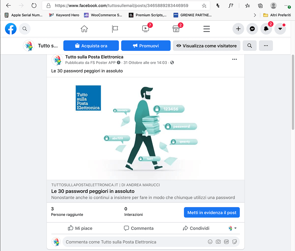 Come mandare via email un link di un post Facebook